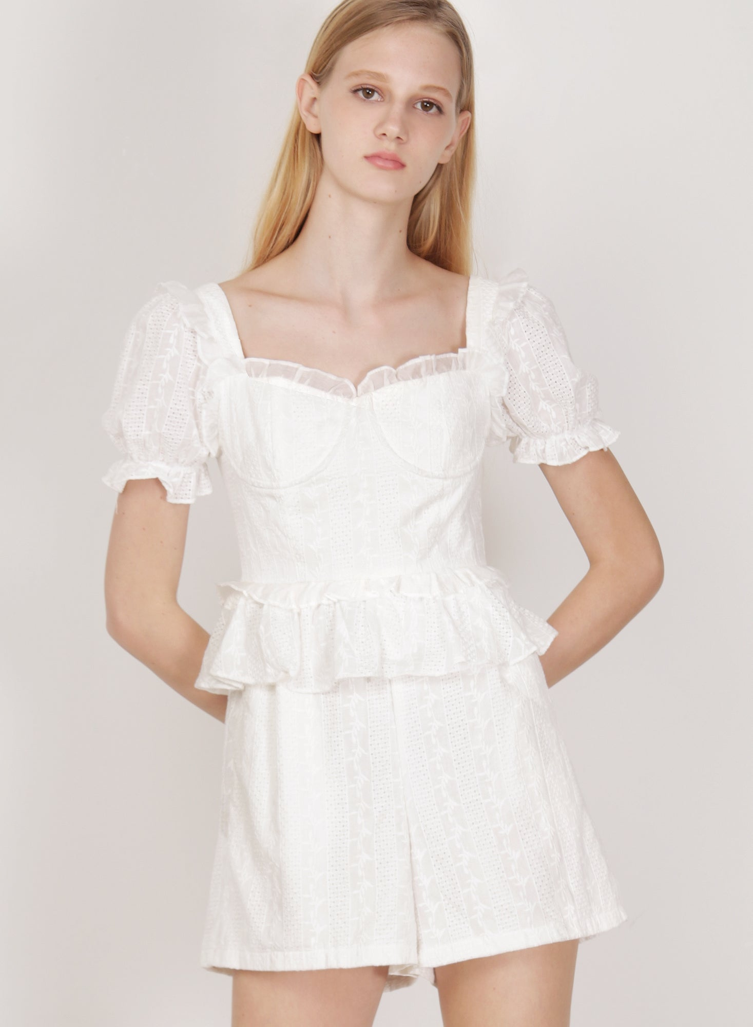 Runes Embroidered Cotton Romper (White)