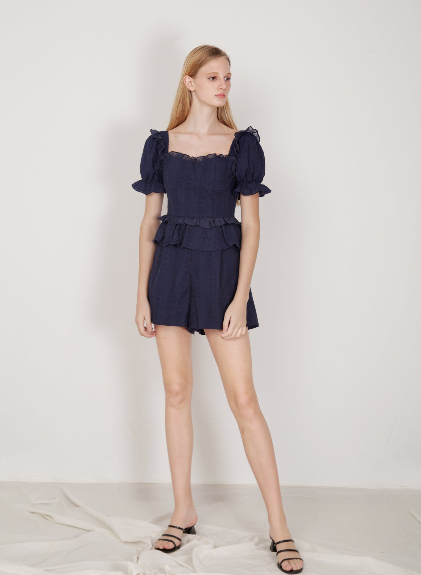 Runes Embroidered Cotton Romper (Navy)