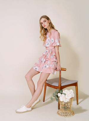 Archive: Midnight Ruffle Tiers Dress (Blush Floral)