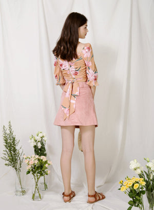 Archive: Euphony Puff Sleeves Ruched Top (Honey Floral)