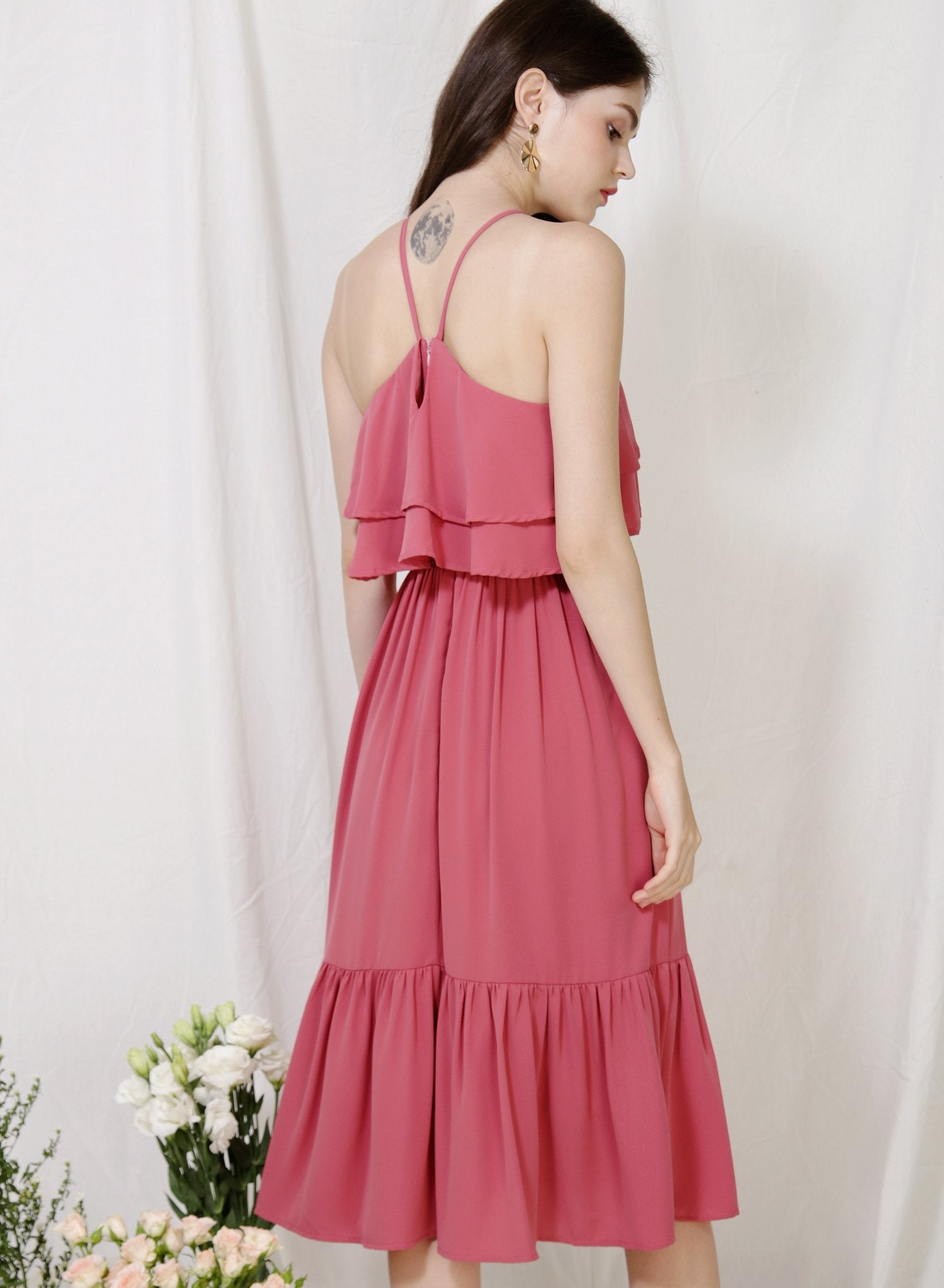 Archive: Wildflower Double Tiers Midi Dress (Rose)