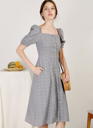 Archive: Fresca Puff Sleeves Button Down Dress (Navy Checks)