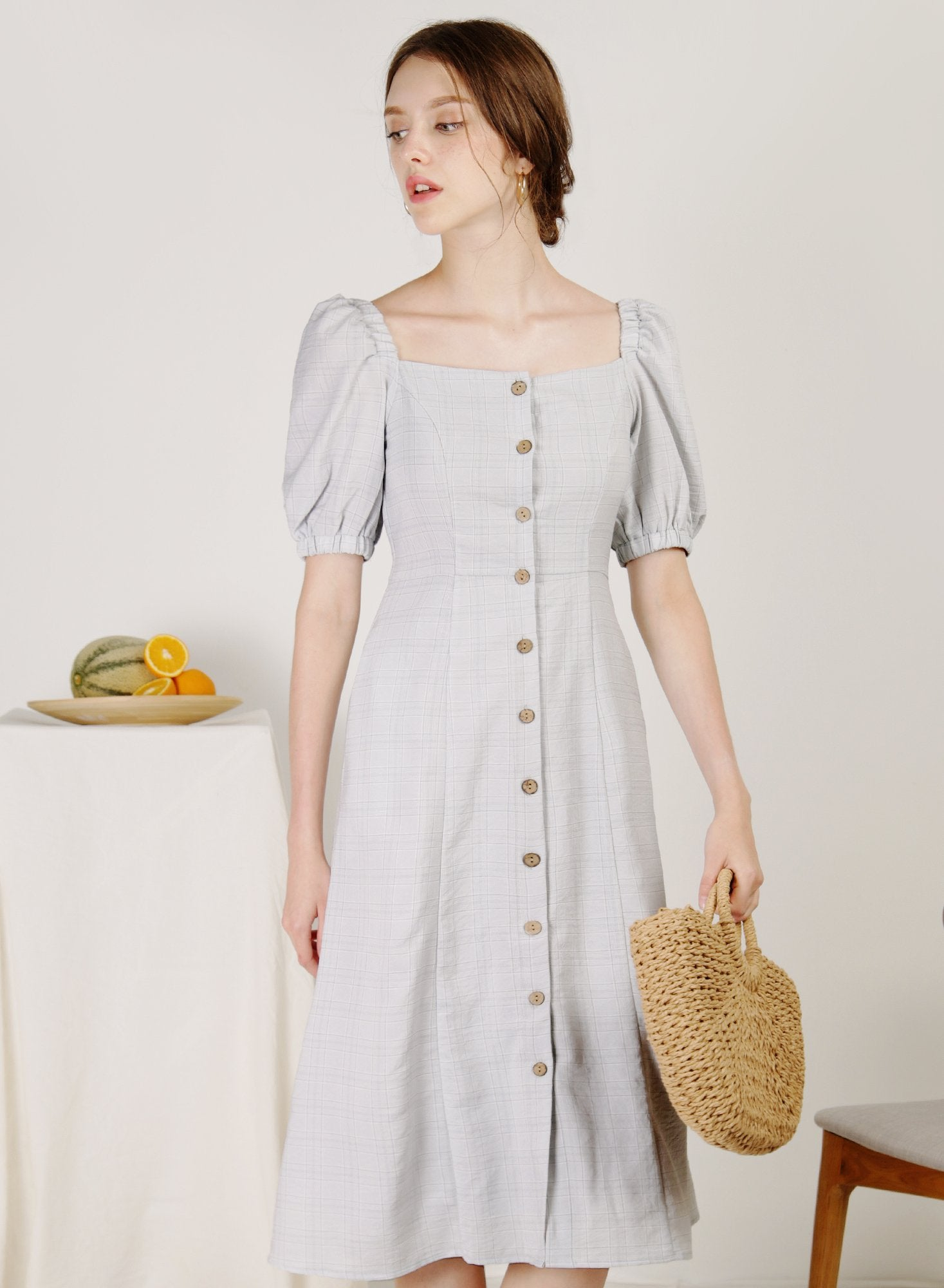 Archive: Fresca Puff Sleeves Button Down Dress (Grey Checks)