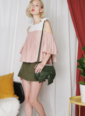 FRONTIER Pleated Contrast Top (Blush) - And Well Dressed