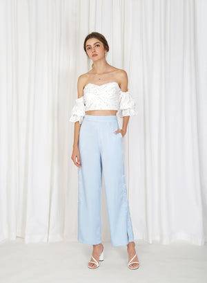 Moray Pearl Button Sides Pants (Sky)