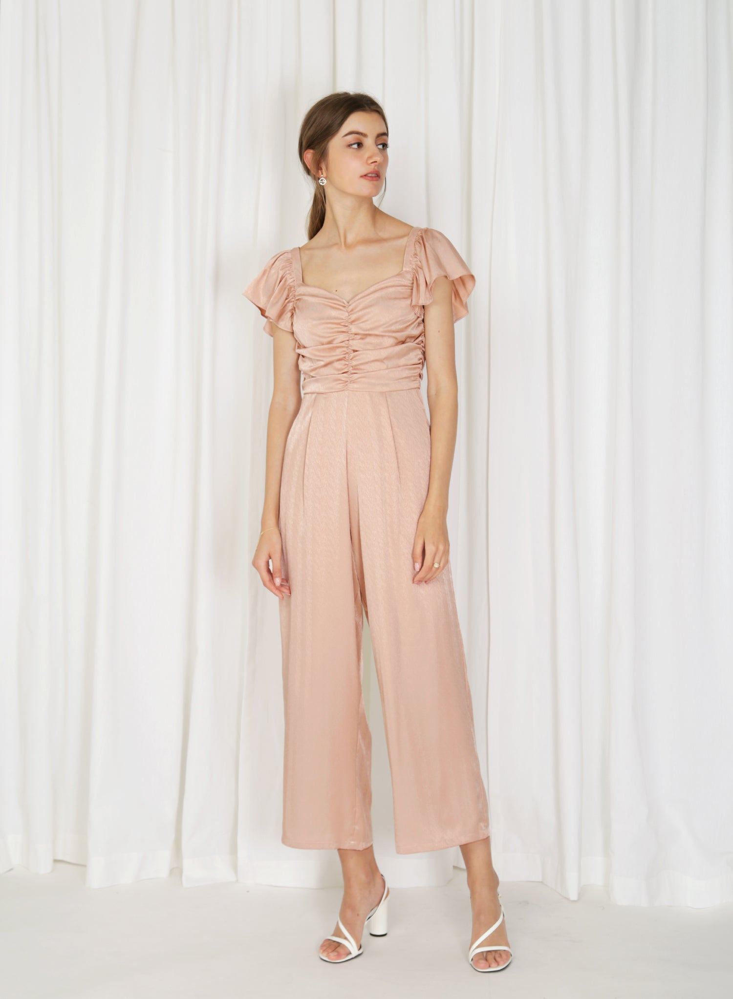 Aurora Ruched Jacquard Jumpsuit (Rose Gold)