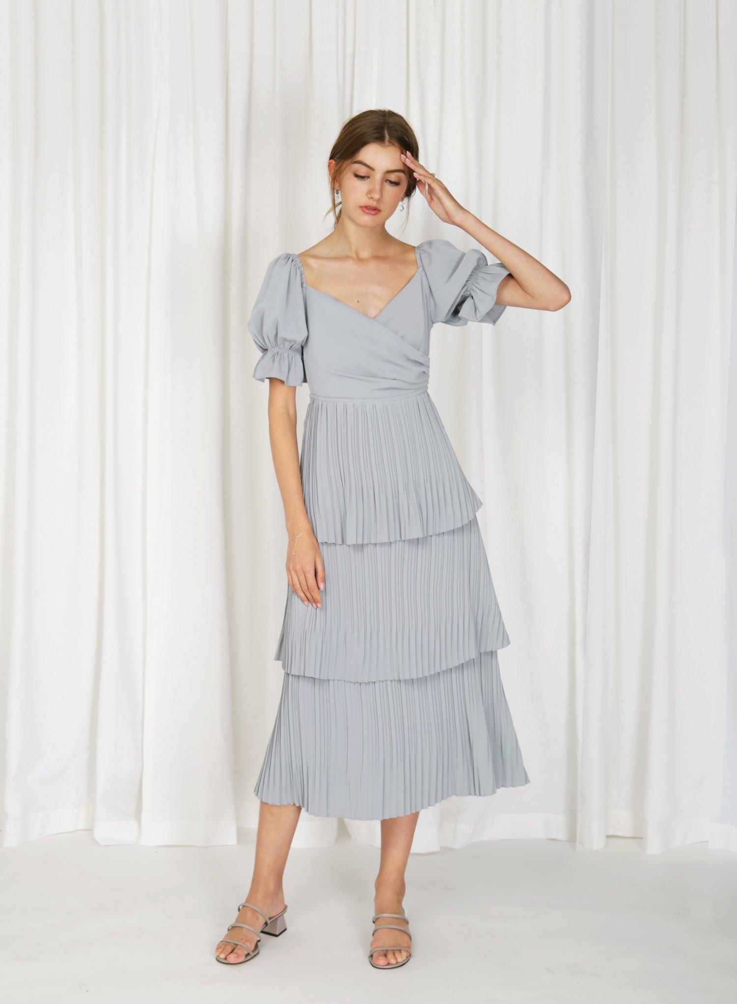 Tromso Wrap Front Tiered Dress (Ash Blue)