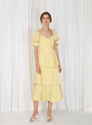 Tromso Wrap Front Tiered Dress (Daffodil)