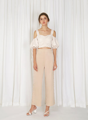 Moray Pearl Button Sides Pants (Biscotti)