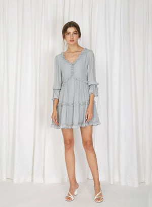 Pre-order: Fairbanks Frill Trim Short Dress (Ash Blue)