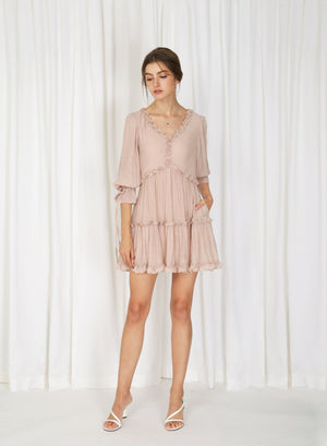 Fairbanks Frill Trim Short Dress (Crepe Blush)