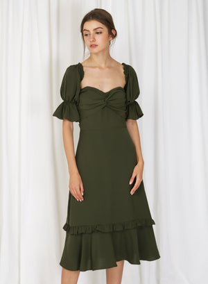 Luna Twist Front Multi-way Dress (Moss)