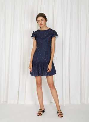 Luna Open Back Mini Dress (Navy)