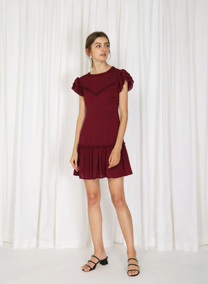 Luna Open Back Mini Dress (Currant)