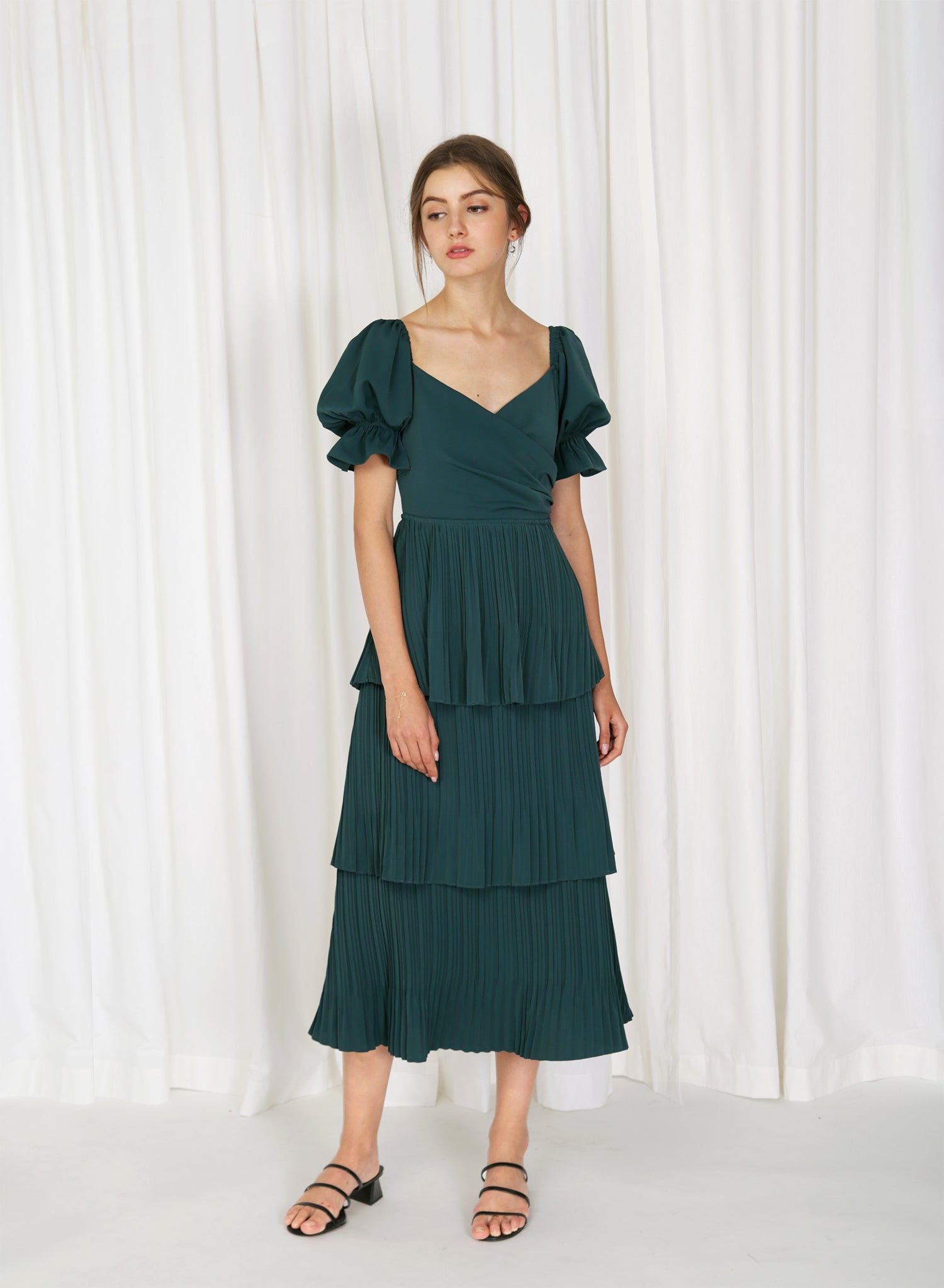Tromso Wrap Front Tiered Dress (Forest)