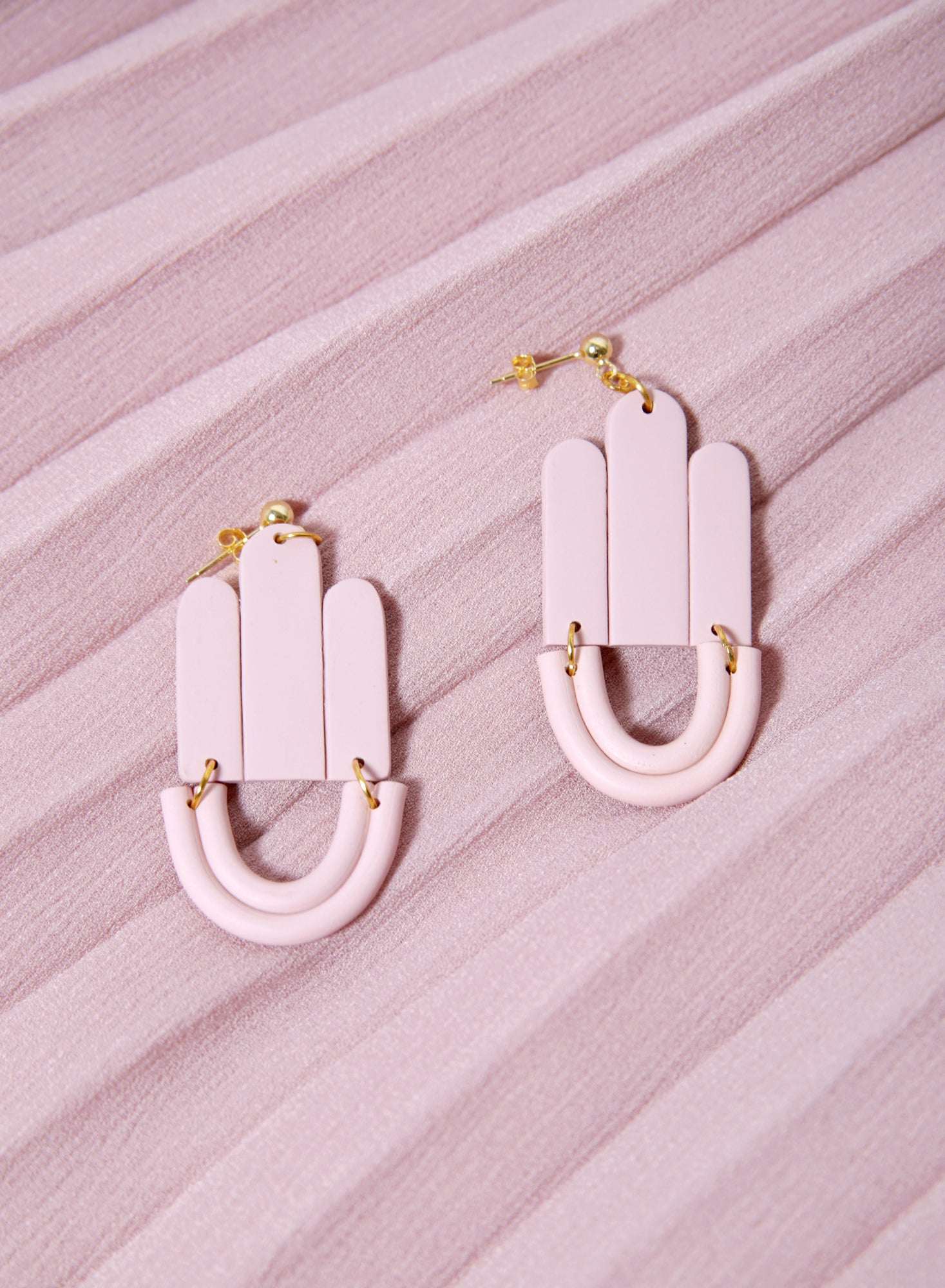 Art Deco Drop Earrings (Blush)