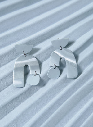 Asymmetric Arch Earrings (Dusk Blue)