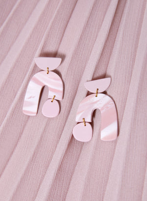 Asymmetric Arch Earrings (Blush)