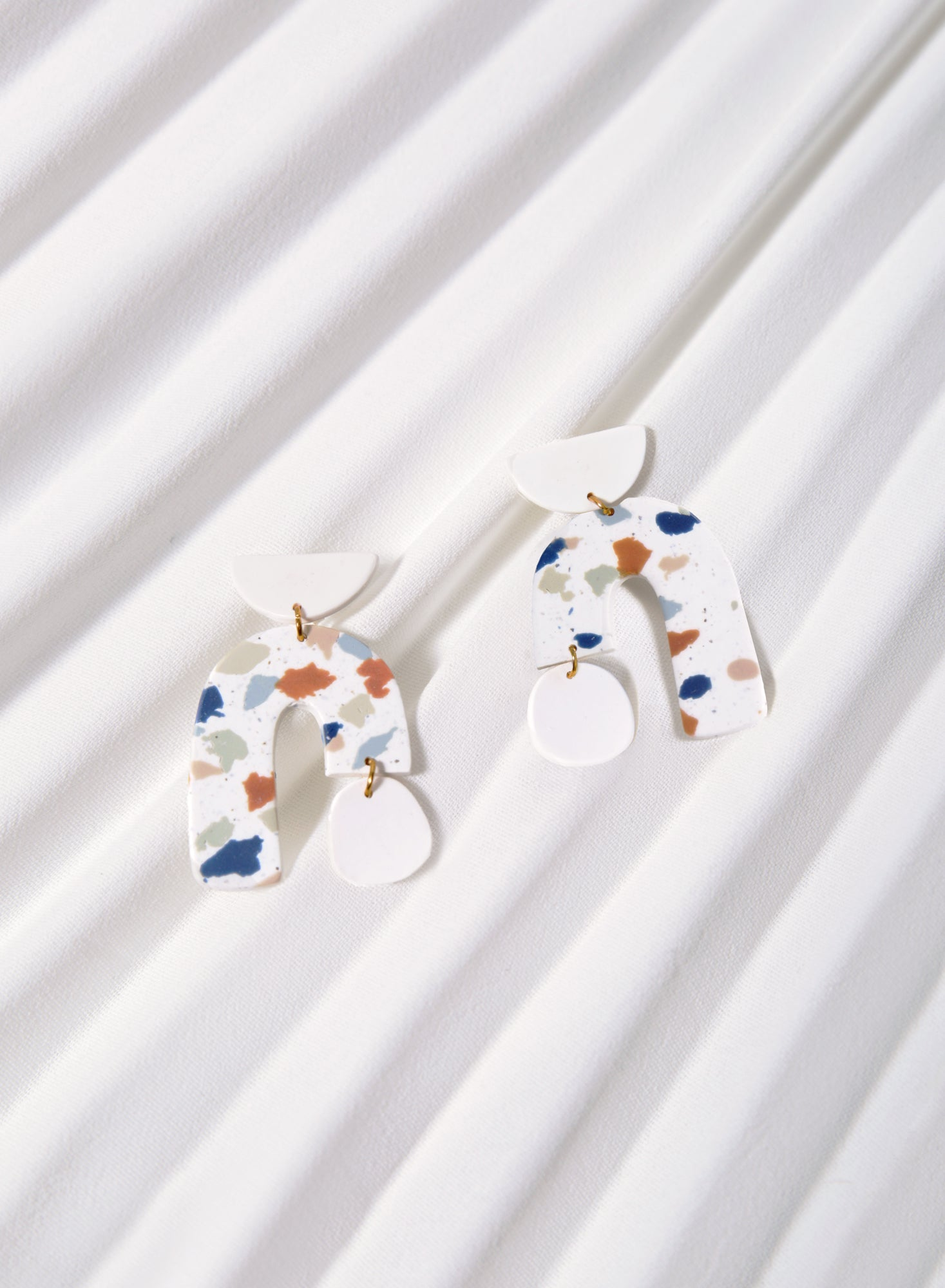 Asymmetric Arch Earrings (Terrazzo)