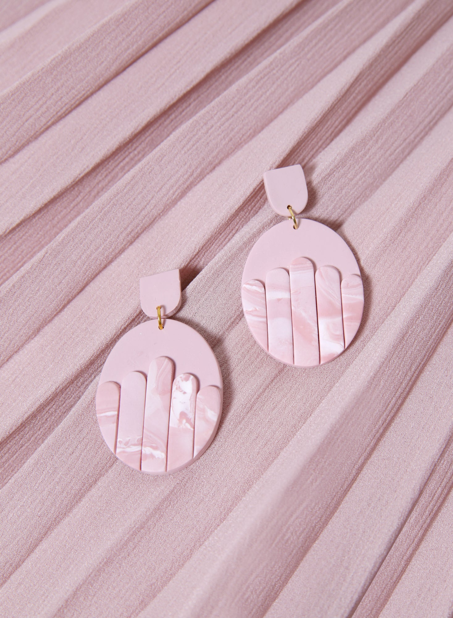 Panelled Oval Earrings (Blush)