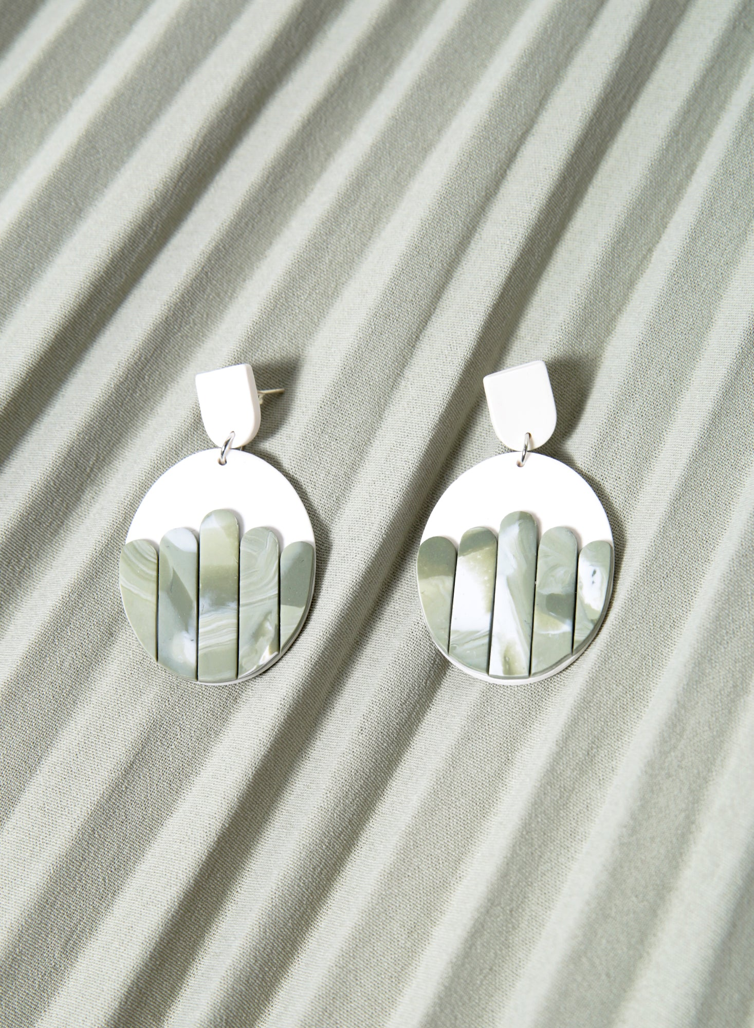 Panelled Oval Earrings (Sage)