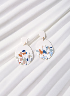 Panelled Oval Earrings (Terrazzo)