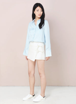 DIVERGE Split Back Buttoned Shirt (Sky) - And Well Dressed