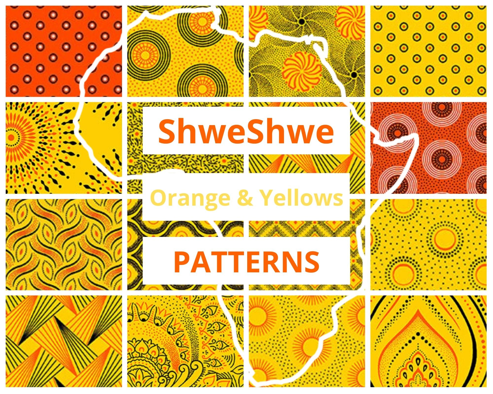 ShweShwe Reusable Fabric Face Masks -Orange & Yellow Patterns