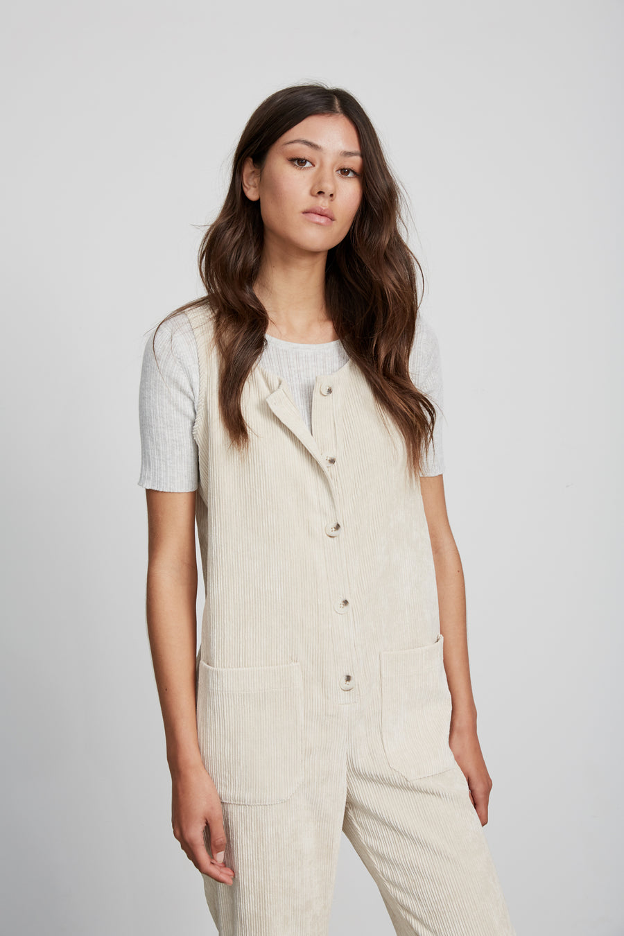 Willow Corduroy Overalls Cream