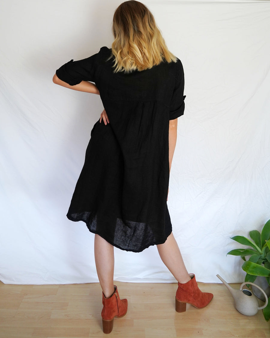 Tianna Linen Black Dress