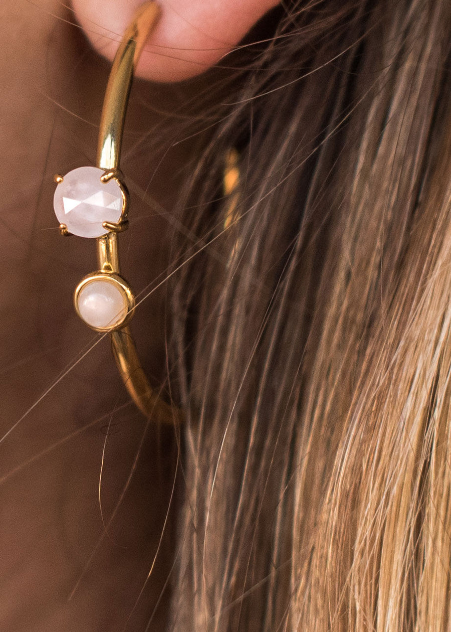 Roxy Earring Rose Quartz