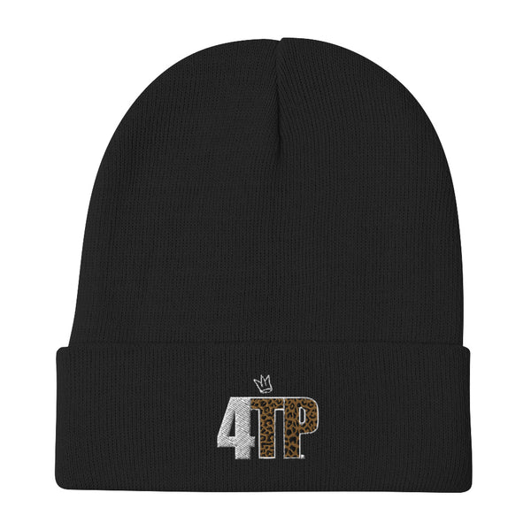 4TP Cheetah Embroidered Beanie Black