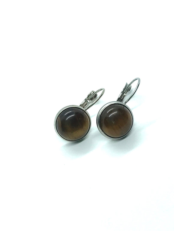 Genuine Tiger's Eye Lever-Back Earrings