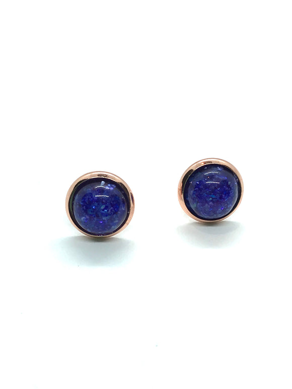 Royal Blue Resin Studs in Rose Gold