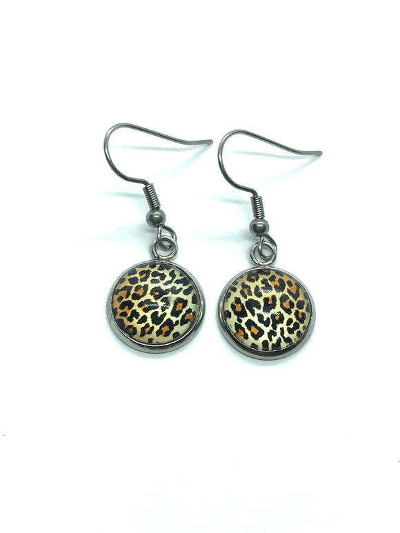 Leopard Print Glass Cabochon Dangle Earrings
