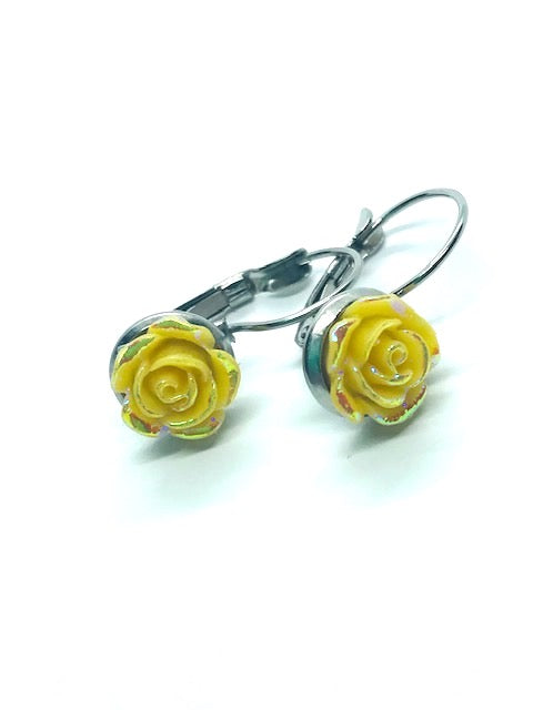 Yellow Rose Lever-Back Earrings