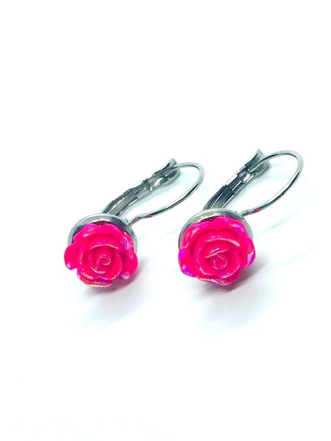 Hot Pink Rose Lever-Back Earrings