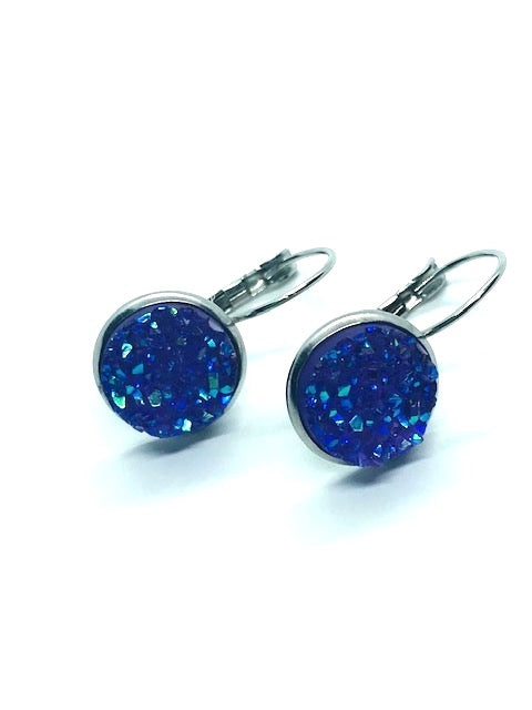 Royal Purple Faux Druzy Earrings