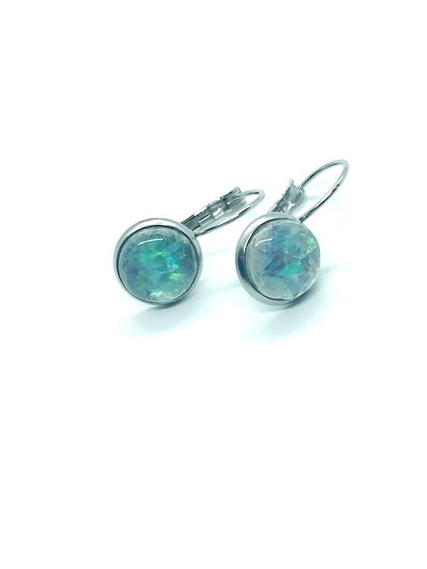 Opalescent Grey Resin Lever-Back Earrings