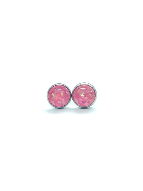 Opalescent Pink Resin Stud Earrings