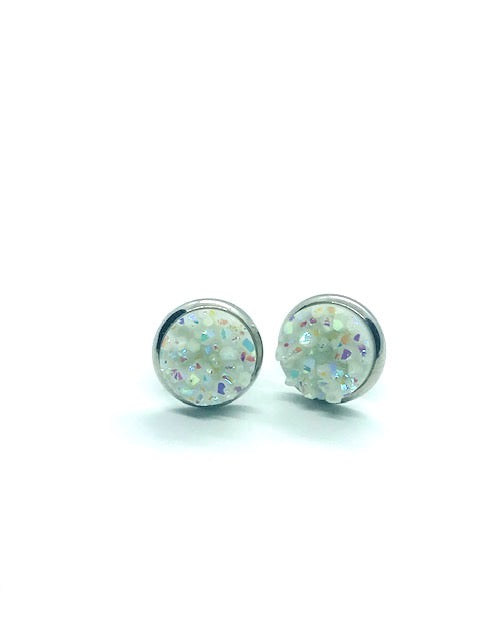 White Resin Faux-Druzy Stud Earrings
