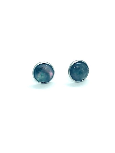 Faux-Abalone Resin Stud Earrings