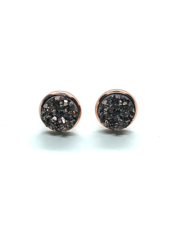 Champagne Colour Faux Druzy Studs in Rose Gold
