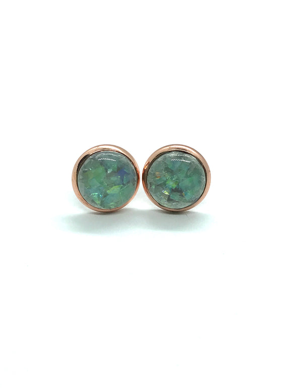 Opalescent Grey Resin Studs in Rose Gold