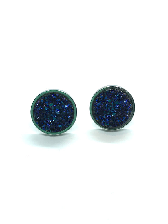 Midnight Blue Faux Druzy Studs