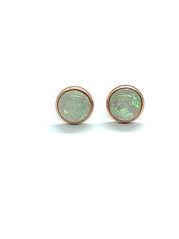 Opalescent White Resin Studs in Rose Gold