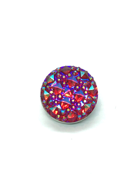Four Corners Blue Rhinestone Snap Button Charm