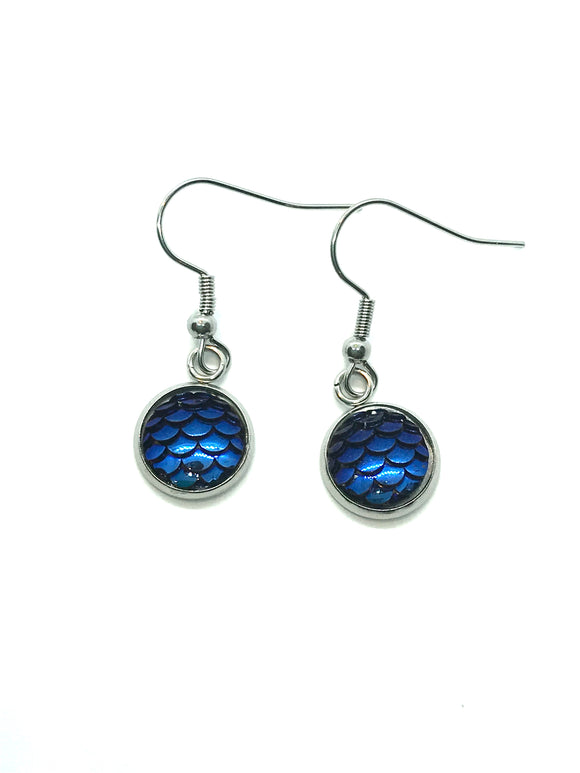 Midnight Blue Mermaid Scale Dangle Earrings