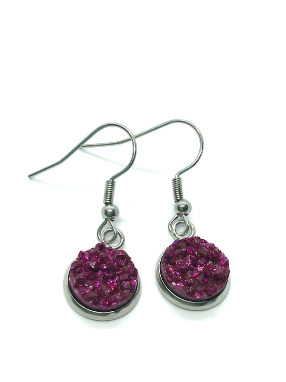 Dark Fuchsia Faux-Druzy Dangle Earrings
