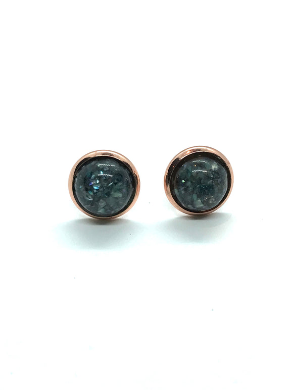 Charcoal Grey Resin Studs in Rose Gold